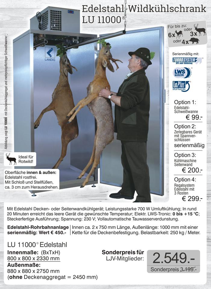 Jetzt das Original von landig bestellen: Wildkühlschrank LU 11000 - profigeräte aus dem Hause Landig