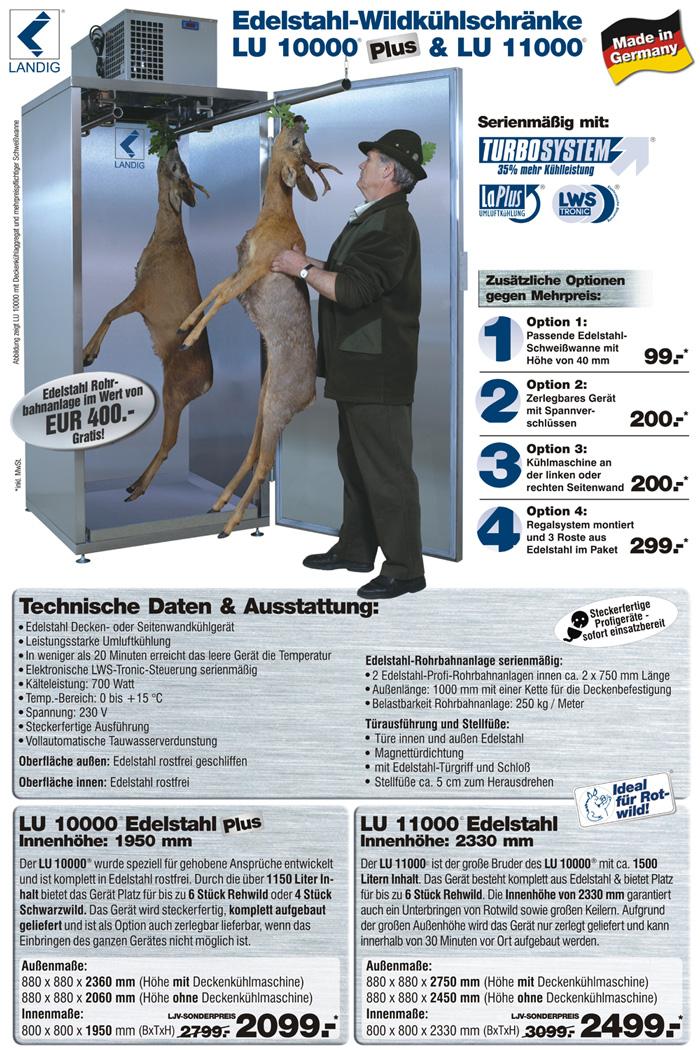 Jetzt das Original von landig bestellen: Wildk�hlschrank LU 1000 Plus und LU 11000 - profiger�te aus dem Hause Landig